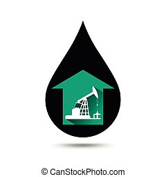 Oil industry concept. Oil price growing up graph with petroleum pump and oil drop.