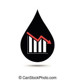 Oil industry concept. Oil price falling down graph with oil drop.