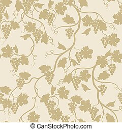 Floral seamless pattern with grape branch. Garden background...