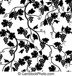 Floral tiled pattern with grape branch silhouette. Wineyard...