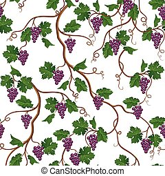 Floral pattern with grape branch. Wineyard seamless...