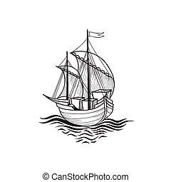 Sailing ship. Retro transport boat. Marine background