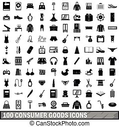 100 consumer goods icons set, simple style