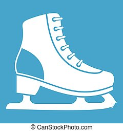 Ice skate icon white isolated on blue background vector...