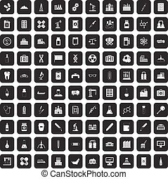 100 chemical industry icons set black - 100 chemical...