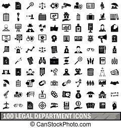 100 legal department icons set, simple style - 100 legal...