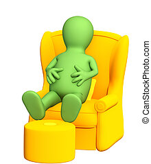 3d puppet, having a rest in a soft armchair. Isolated over...