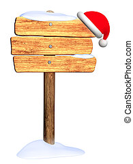 Wooden signboard. Winter - Wooden signboard with christmas...