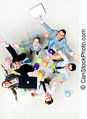 Successful partners - Above view of joyful business people...