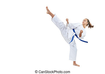 A high circular kick is struck by an athlete with a blue...