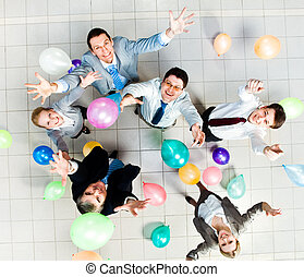 Joyful people - Above view of joyful business people with...