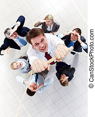 Beware of falling down - Above view of businessman holding...