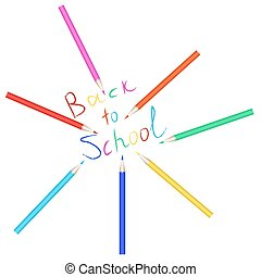 Vector set of colored pencils. The inscription back to school written with colored pencils.