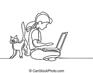 Girl studing with notebookand cat walking near. Back to...