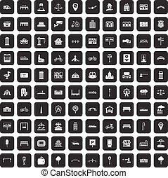 100 city icons set black - 100 city icons set in black color...