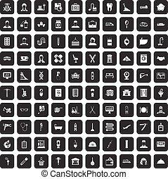 100 craft icons set black - 100 craft icons set in black...