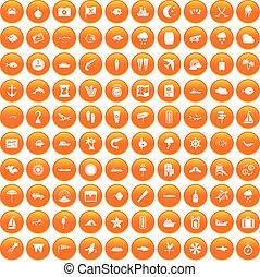 100 marine environment icons set orange - 100 marine...