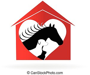 Horse cat and dog farm pets logo