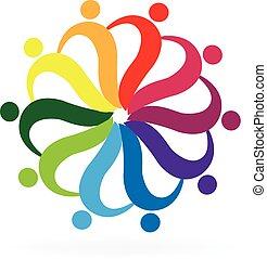 Teamwork helping people logo