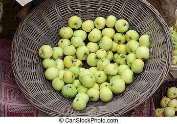 挑, 籃子, 市場, 蘋果, 新鮮地