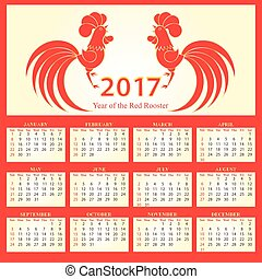Calendar 2017. Chinese New Year of the Fire Rooster.