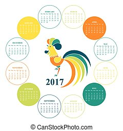 Wall Calendar for 2017. Chinese New Year Red Rooster.