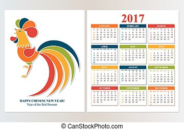 Colorful Calendar 2017. Chinese New Year Red Rooster