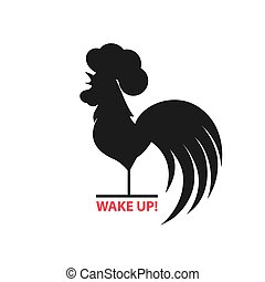 Silhouette of the cock on white background