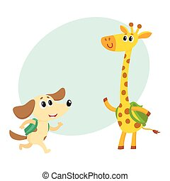 Cute animal student characters, dog and giraffe with backpacks