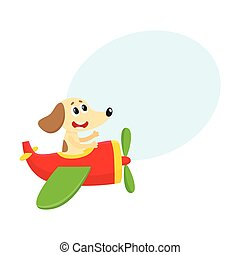 Funny dog, puppy pilot character flying on airplane, cartoon illustration