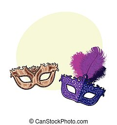 Two decorated Venetian carnival masks, with feathers and golden ornaments