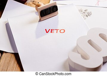 Law act with red veto stamp. President veto