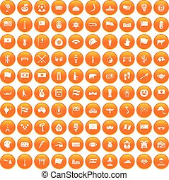 100 national flag icons set orange - 100 national flag icons...