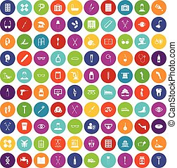 100 disabled healthcare icons set color - 100 disabled...