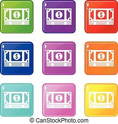 Stack of money set 9 - Stack of money icons of 9 color set...