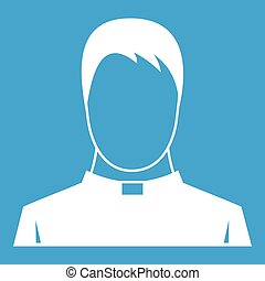 Priest icon white isolated on blue background vector...