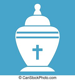 Urn icon white isolated on blue background vector...