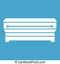 Coffin icon white isolated on blue background vector...