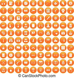 100 offence icons set orange - 100 offence icons set in...