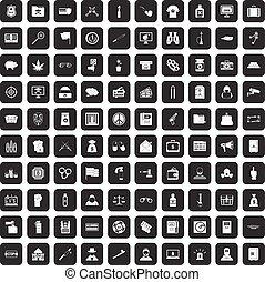 100 criminal offence icons set black - 100 criminal offence...