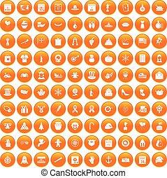 100 national holiday icons set orange - 100 national holiday...