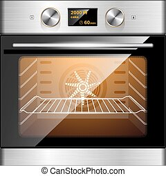Electric oven in stainless steel and glass. Electronic...