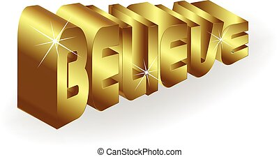 Believe gold word logo