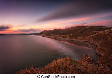 Sunset at Rhossili Bay, South Wales - Sunset at Rhossili Bay...