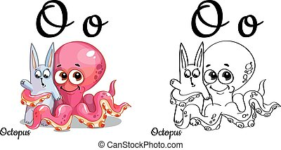Octopus. Vector alphabet letter O, coloring page