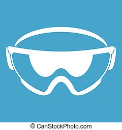 Safety glasses icon white isolated on blue background vector...