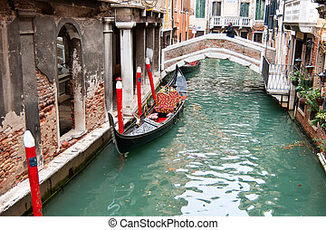 Gondola in Venice Italy - Gondola in the canals of Venice