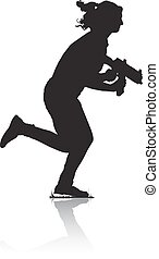 Silhouette of young running girl, armed with a rifle for...
