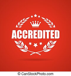 Accredited award laurel vector icon on red background