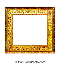 Old gold wooden frame isolated on white